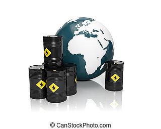 3d illustration: Oil production in large quantities: Barrels...