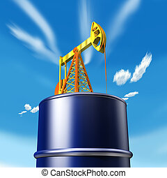 3d illustration, Oil tank with well and sky