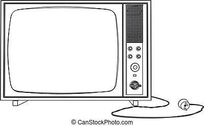 3D illustration old tv,