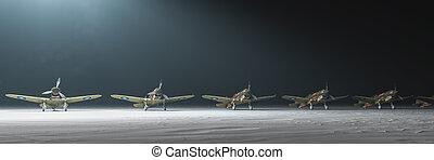 3d illustration, old war planes