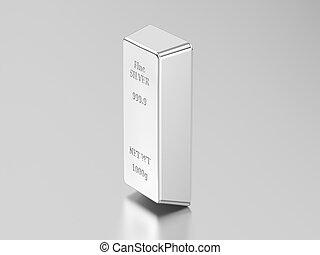 3D illustration one of silver bullion