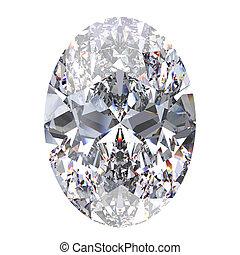 3D illustration oval diamond stone