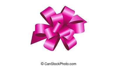 3d illustration pink Bow Ribbon on white
