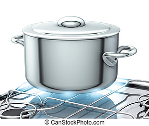 pot with gas stove - 3d illustration, pot with gas stove