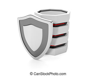 3d illustration: Protect files on your hard disk. Hard drive and shield