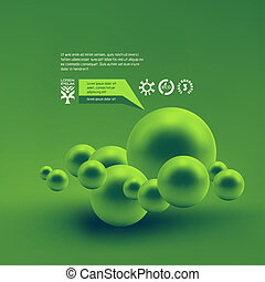 3d illustration. - Random spheres background. 3D...