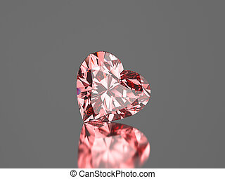 3D illustration red pink diamond heart stone on a grey background