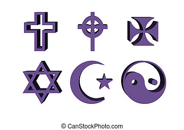 3d illustration, religious symbols - cross, lilac