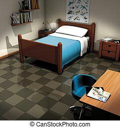 3d illustration render, children room and table