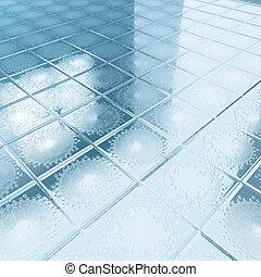 floor blue tiles - 3d illustration render, floor blue tiles