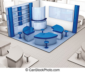 3d illustration rendering, corner stand exhibition blue