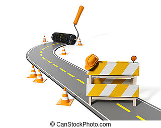 3d illustration: Repairs, maintenance and construction of pavement
