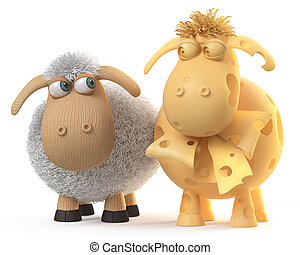 3d illustration ridiculous sheep