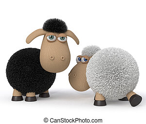 3d illustration ridiculous sheep - 3d illustration mutual ...