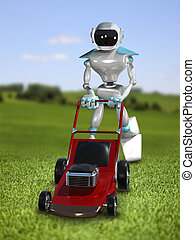 3D Illustration Robot Lawnmower