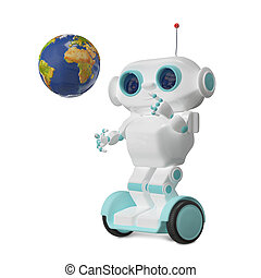 3D Illustration Robot with Globe on Scooter
