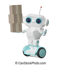 3d Illustration Robot with Three Box
