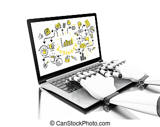 3d illustration. Robotic hands typing on a laptop with business sketch