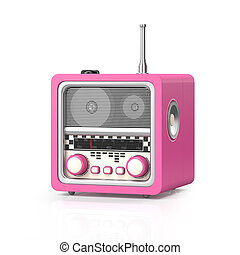 3d illustration: Rock and roll radio on a white background