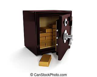 3d illustration: Safe and gold bullion. Storing and saving your money