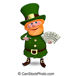 3D Illustration Saint Patrick with a Fan Dollars