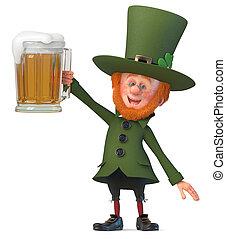 3d illustration Saint Patrick with beer
