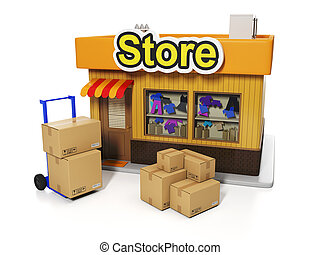3d illustration: Sale and purchase. Delivery of goods to the store, shop and a group of boxes on a white background