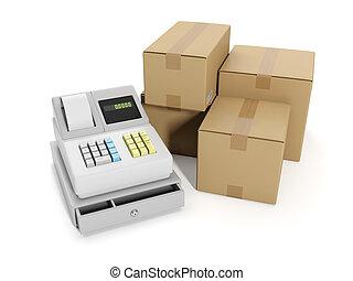 3d illustration: Sale goods storage, warehouse. Cash register and group boxes
