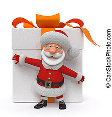 3d illustration Santa Claus with a gift