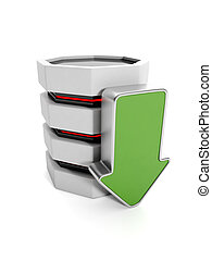 3d illustration: Saving the information on your hard disk. Hard disk and a green arrow