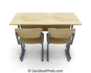 3d illustration school desk with two chairs isolated on white background. Back to school.