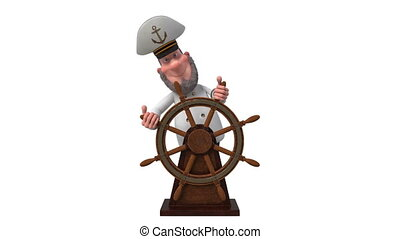 3d illustration sea captain with the wheel - 3d illustration...