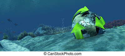 3d illustration seabed with a globe