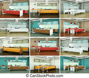Set of kitchens in modern Interior design