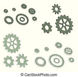 3d illustration - set of vector cogwheels