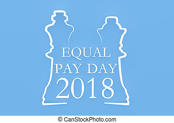 "Shape of chess piece with Text ""Equal Pay Day"""