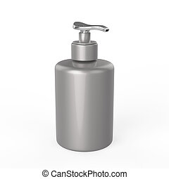 3D illustration silver bottle with liquid soap