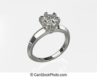 3D illustration silver gold ring with diamonds on a grey background