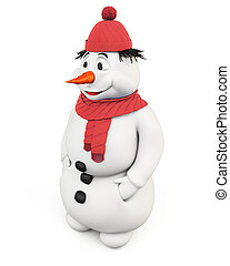 3d illustration snowman on a white background.