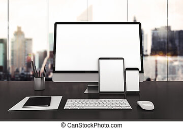 3D illustration of electronic devices on desk