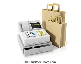 3d illustration: Storage and Commercial. Sales of goods, cash register and paper shopping bags