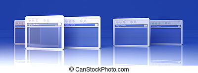 Browser Windows - 3D Illustration. Symbolic Browser Windows....