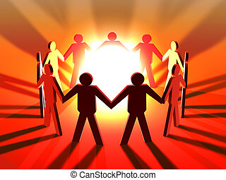 Power of Teamwork - 3D Illustration symbolizing the Power of...
