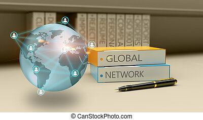 3D Illustration technology abstract background, concept of global network