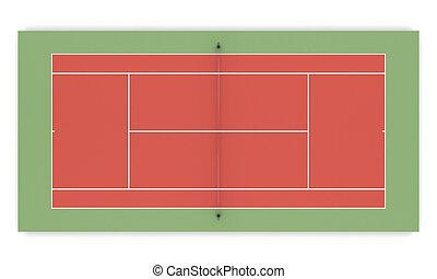 3d illustration tennis court front view