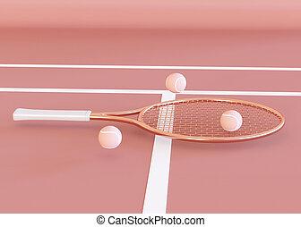 3D Illustration. Tennis Racket and balls.