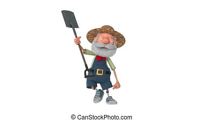 3D illustration the farmer costs with a shovel - 3D...