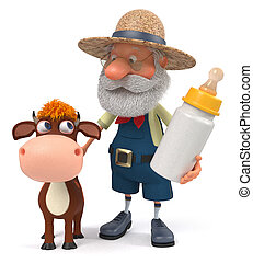 3d illustration the farmer stands with a funny calf - 3d ...