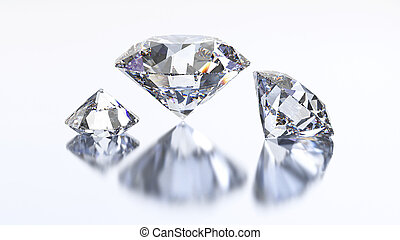 3D illustration three diamond stone