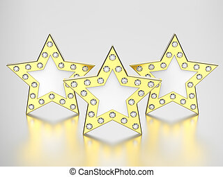 3D illustration three gold stars with diamonds